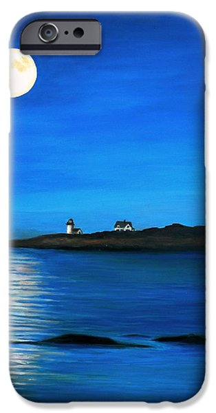 Sea Moon Full Moon Paintings iPhone Cases - Rockport Harvest Moon iPhone Case by Eileen Patten Oliver