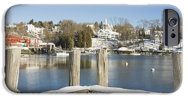 Winter Weather iPhone Cases - Rockport in Winter on The Coast Of Maine iPhone Case by Keith Webber Jr