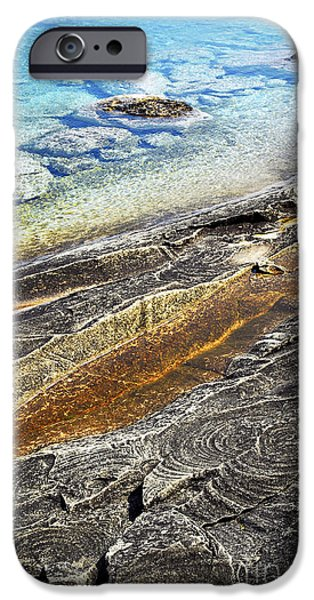 Pristine iPhone Cases - Rocks and clear water abstract iPhone Case by Elena Elisseeva