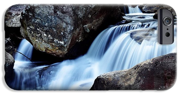 Nature Scene Digital Art iPhone Cases - Rocks and Waterfall iPhone Case by Adam LeCroy