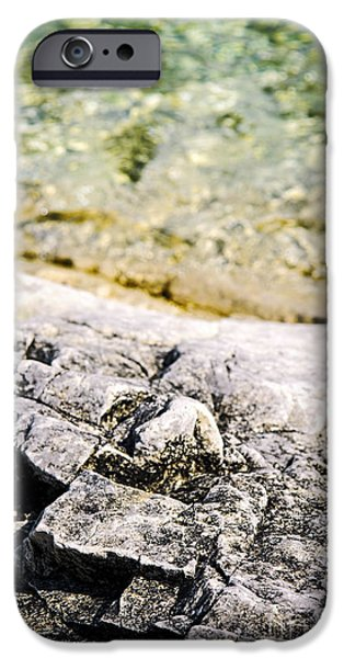 Solid iPhone Cases - Rocks at Georgian Bay iPhone Case by Elena Elisseeva