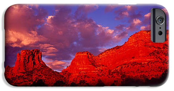 Fiery iPhone Cases - Rocks At Sunset Sedona Az Usa iPhone Case by Panoramic Images