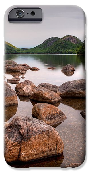 Jordan iPhone Cases - Rocks In Pond, Jordan Pond, Bubble iPhone Case by Panoramic Images