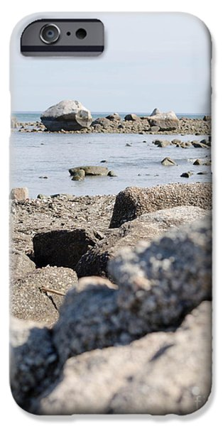 Newengland iPhone Cases - Rocks on the beach iPhone Case by Andrea Anderegg
