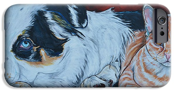 Domestic Short Hair Cat iPhone Cases - Rocky And Dexter iPhone Case by Patti Schermerhorn
