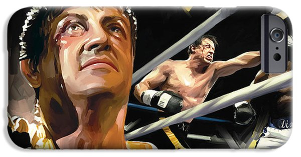 Sylvester Stallone iPhone Cases - Rocky Artwork 1 iPhone Case by Sheraz A