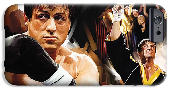 Sylvester Stallone iPhone Cases - Rocky Artwork 2 iPhone Case by Sheraz A