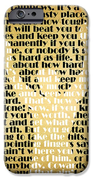 Cave iPhone Cases - Rocky Balboa Quote Poster iPhone Case by Pete Baldwin