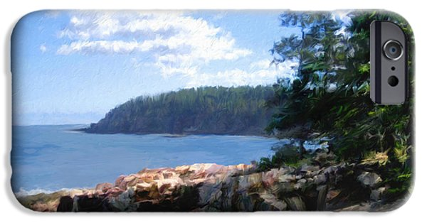 Rocky Maine Coast iPhone Cases - Rocky Coast .  Impressionistic  iPhone Case by Ann Powell