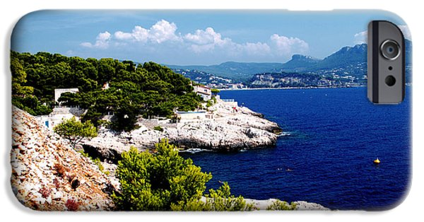 Turquois Water iPhone Cases - Rocky coast of Calanques on French Riviera iPhone Case by Maja Sokolowska