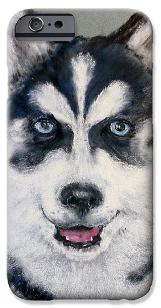 Huskies Pastels iPhone Cases - Rocky iPhone Case by Jane Baribeau