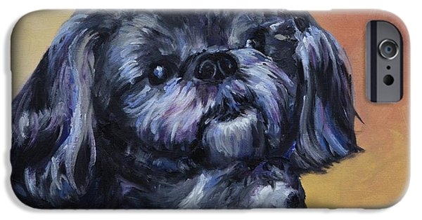 Black Dog iPhone Cases - Rocky Jones iPhone Case by Donna Tuten