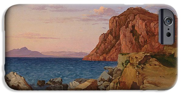Sea iPhone Cases - Rocky Landscape, 19th Century iPhone Case by Antal Ligeti