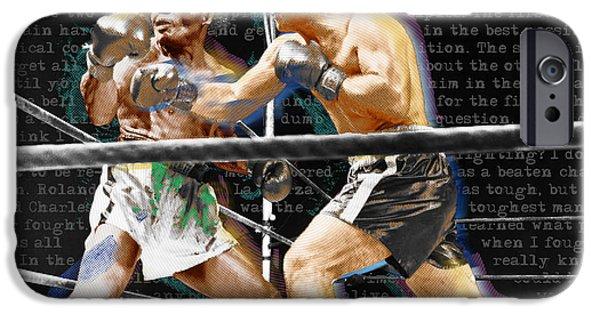 1950s Portraits iPhone Cases - Rocky Marciano V Jersey Joe Walcott Quotes iPhone Case by Tony Rubino