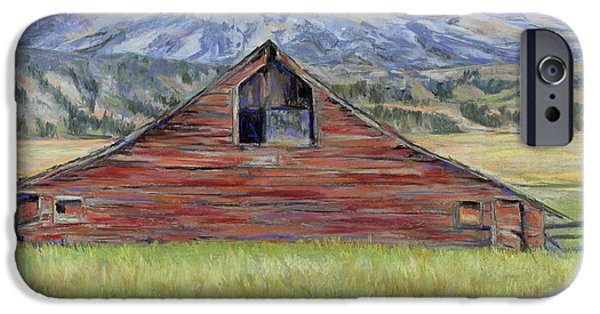 Barns Pastels iPhone Cases - Rocky Mountain Barn iPhone Case by Billie Colson