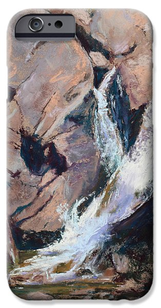 Autumn Scenes Pastels iPhone Cases - Rocky Mountain Cascade iPhone Case by Mary Benke