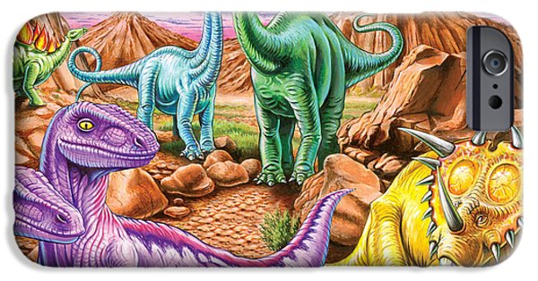 Extinct And Mythical Photographs iPhone Cases - Rocky Mountain Dinos iPhone Case by Mark Gregory