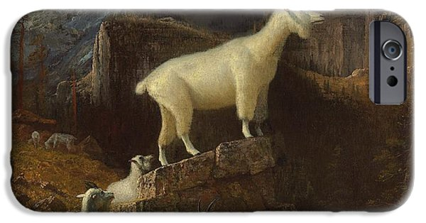 Hudson River iPhone Cases - Rocky Mountain Goats iPhone Case by Albert Bierstadt