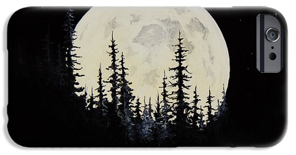 Recently Sold -  - Bob Ross Paintings iPhone Cases - Rocky Mountain Moon iPhone Case by C Steele