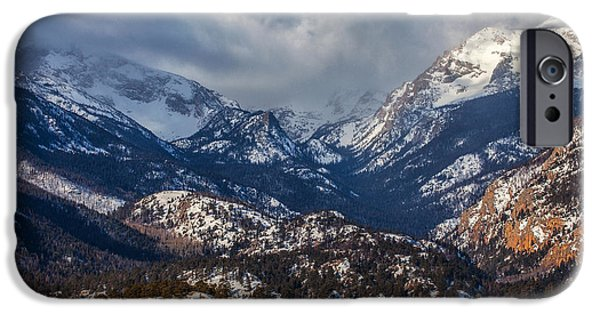 Snow Scene iPhone Cases - Rocky Mountain Weather iPhone Case by Darren  White