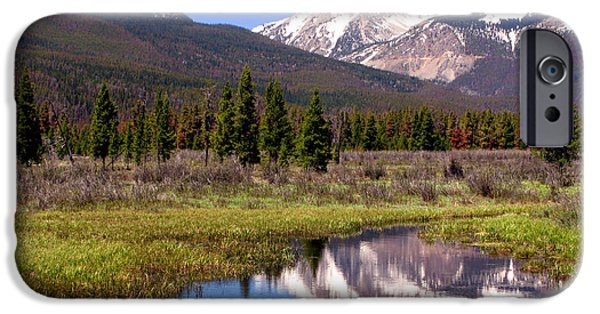 Rockies iPhone Cases - Rocky Mountains Peaks iPhone Case by Olivier Le Queinec