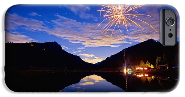 Blue Fireworks iPhone Cases - Rocky Mountains Private Fireworks Show iPhone Case by James BO  Insogna
