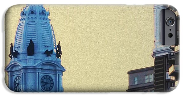 Stallone Digital iPhone Cases - Rocky on top of City Hall iPhone Case by Bill Cannon