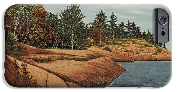 Portage iPhone Cases - Rocky River Shore iPhone Case by Kenneth M  Kirsch