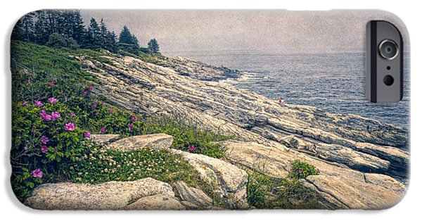 New England Lighthouse iPhone Cases - Rocky Shore at Pemaquid iPhone Case by Joan Carroll