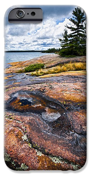 Spectacular iPhone Cases - Rocky shore of Georgian Bay iPhone Case by Elena Elisseeva