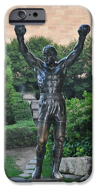 Stallone Digital iPhone Cases - Rocky Statue - Philadelphia iPhone Case by Bill Cannon