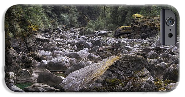 Alga iPhone Cases - Rocky Tree Lined River Washington iPhone Case by Keith Briley