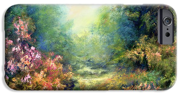Garden Scene Paintings iPhone Cases - Rococo Delight iPhone Case by Hannibal Mane