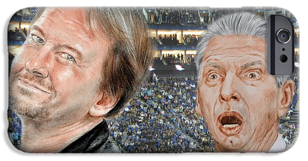 Gray Hair iPhone Cases - Roddy Piper and Vince McMahon  iPhone Case by Jim Fitzpatrick