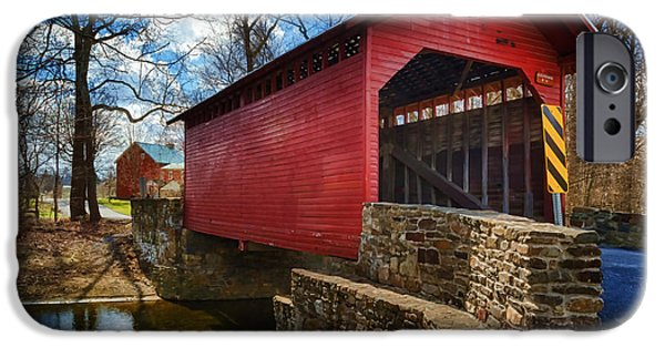 Covered Bridge iPhone Cases - Roddy Road Covered Bridge iPhone Case by Joan Carroll