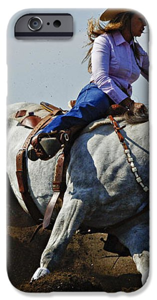 Rodeo Barrel Racer iPhone Case by Bob Christopher