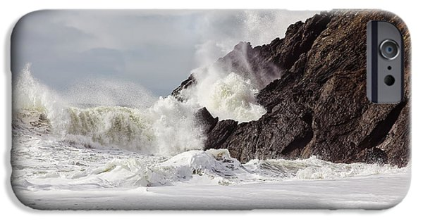 Sausalito iPhone Cases - Crash into me - Pacific Ocean uproar iPhone Case by Henry Inhofer