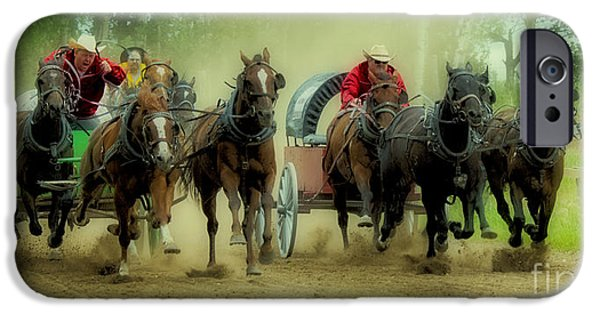 Horse Racing iPhone Cases - Rodeo Chuck Wagons On The Run iPhone Case by Bob Christopher