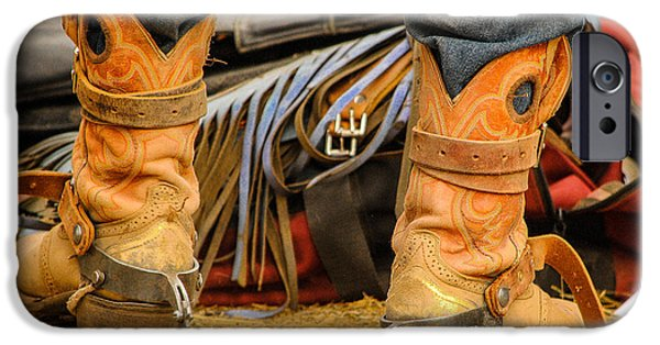 Behind The Scenes Photographs iPhone Cases - Rodeo Cowboy Tools of the Trade iPhone Case by Miki  Finn
