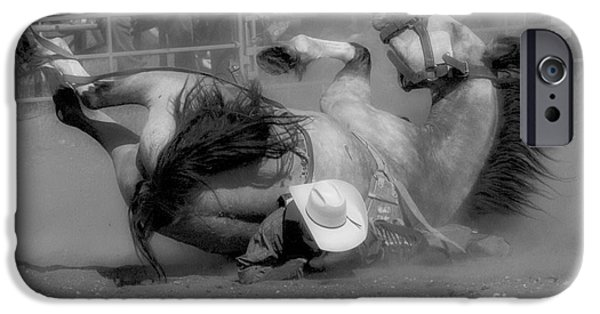 Horse Racing iPhone Cases - Rodeo Crunch Time 3 iPhone Case by Bob Christopher