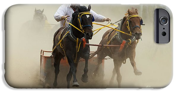 Horse Racing iPhone Cases - Rodeo Eat My Dust 1 iPhone Case by Bob Christopher