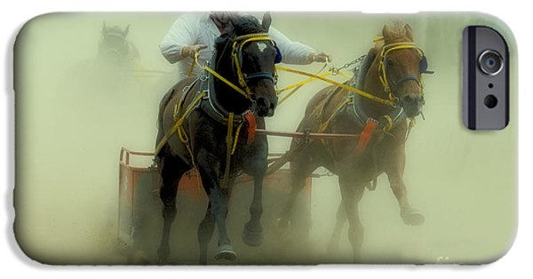 Horse Racing iPhone Cases - Rodeo Eat My Dust 3 iPhone Case by Bob Christopher