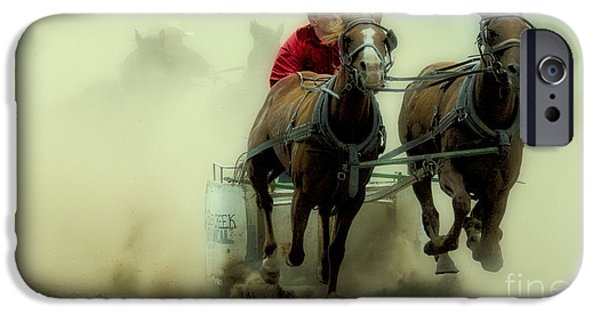 Horse Racing iPhone Cases - Rodeo Eat My Dust Buddy iPhone Case by Bob Christopher