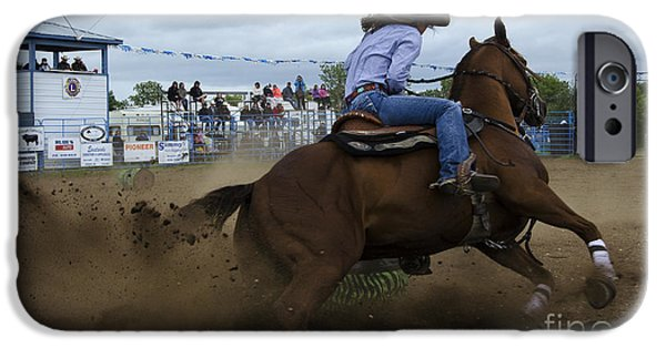 Horse Racing iPhone Cases - Rodeo Ladies Barrel Race 1 iPhone Case by Bob Christopher