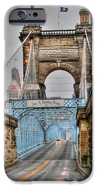 Covington iPhone Cases - Roebling Bridge iPhone Case by David Bearden