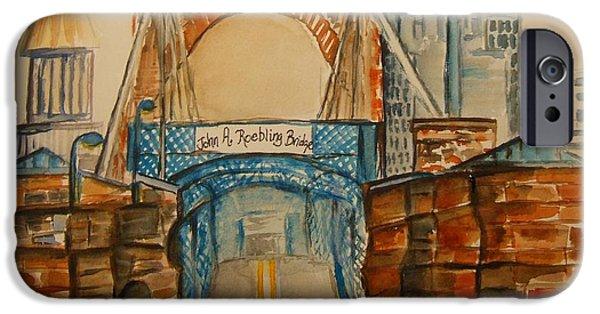 Roebling Bridge Paintings iPhone Cases - Roebling Bridge iPhone Case by Elaine Duras