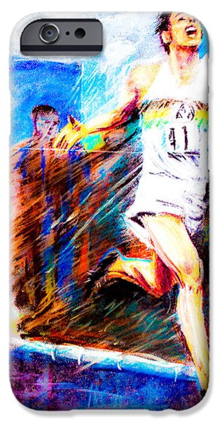 Tracks Pastels iPhone Cases - Roger Bannister Worlds Record Holder in Mile Run iPhone Case by Dariusz Janczewski