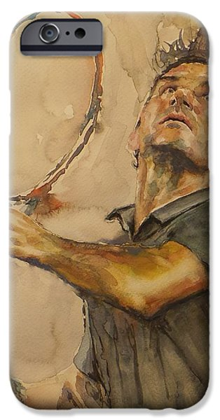 French Open Paintings iPhone Cases - Roger Federer - Portrait 1 iPhone Case by Baresh Kebar - Kibar