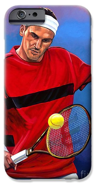 Summer Sports Paintings iPhone Cases - Roger Federer 2 iPhone Case by Paul  Meijering