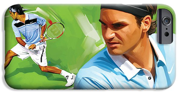 Roger iPhone Cases - Roger Federer Artwork iPhone Case by Sheraz A